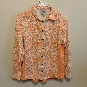 Bass Orange and Cream Floral Gingham Button Down